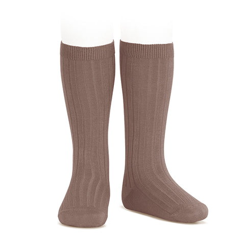 CONDOR SOCKS - Ribbed Knee-High in PRALINE