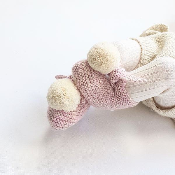 Marbled ARLO 'Alpaca' Baby Booties - Candy Pink & Cloud