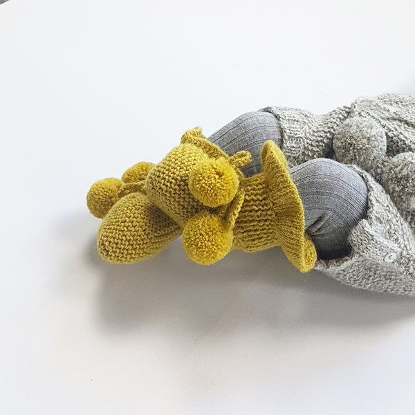 MIMI Frilled 'Alpaca' Baby Booties - Acid Yellow