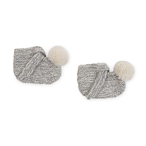 Marbled ARLO 'Alpaca' Baby Booties - Silver & Cloud