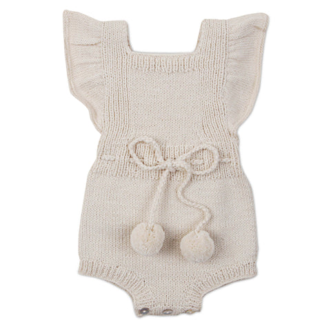MARGOT Frilled 'Alpaca' Romper - Cloud