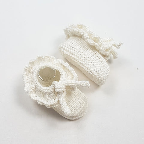 MIMI Frilled Booties - Pearl 6-12m (LAST PAIR)