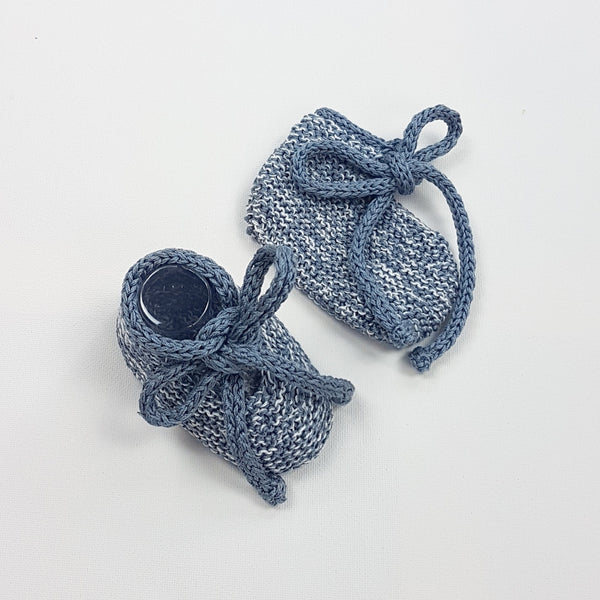 LUKA Baby Booties - Steel 6-12m (LAST PAIR)