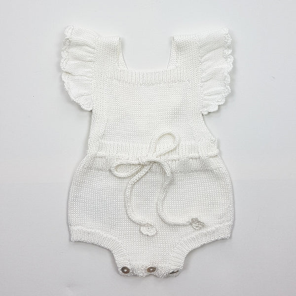 MARGOT Frilled Romper -  Pearl