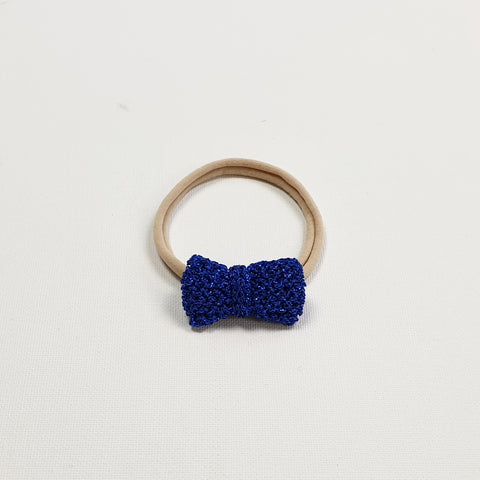 SERAPHINA 'Metallic' Hair Bow - Mini/ Royal Blue