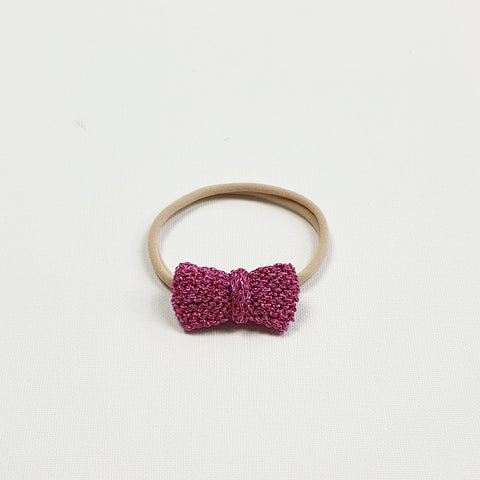 SERAPHINA 'Metallic' Hair Bow - Mini/ Hot Pink