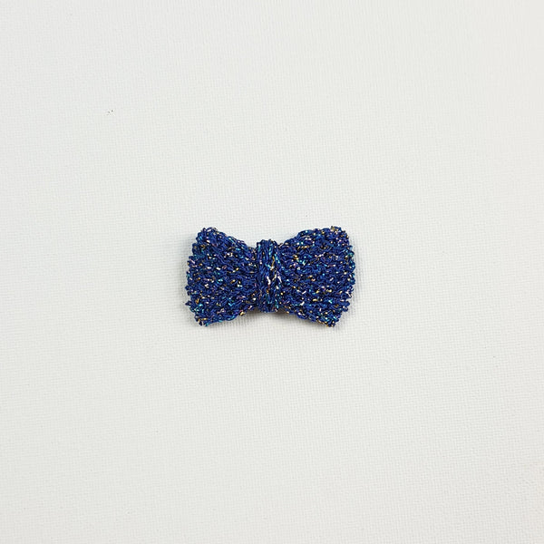 SERAPHINA 'Metallic' Hair Bow - Medium/ Royal Blue Confetti