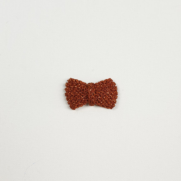 SERAPHINA 'Metallic' Hair Bow - Mini/ Toffee
