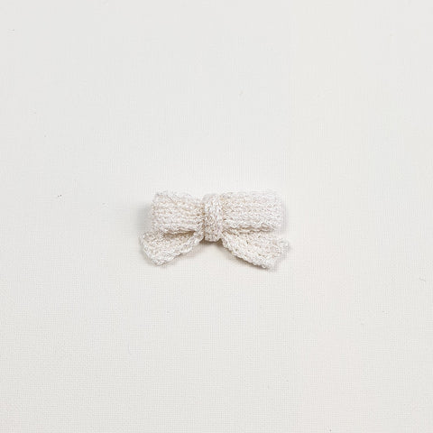 LUCIA 'Metallic' Hair Bow - Medium/ Pearl