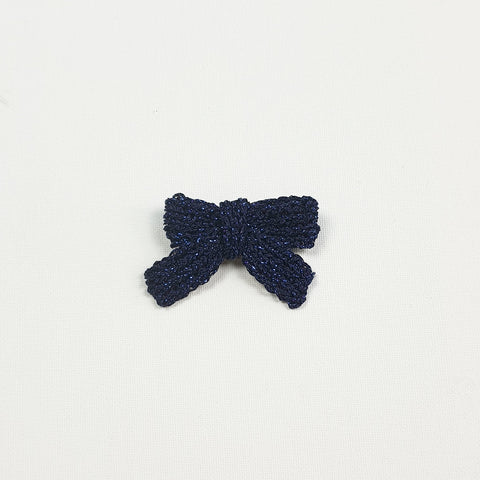 LUCIA 'Metallic' Hair Bow - Medium/ Indigo