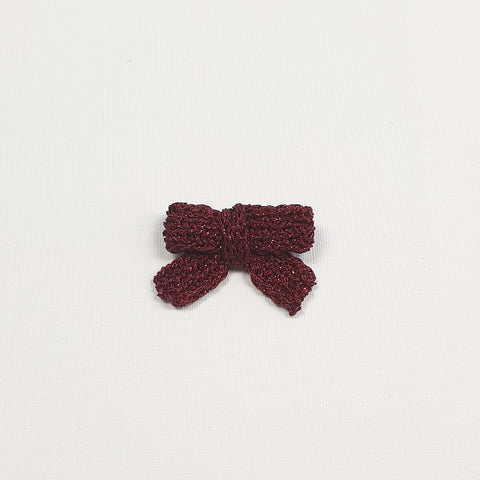 LUCIA 'Metallic' Hair Bow - Medium/ Burgundy