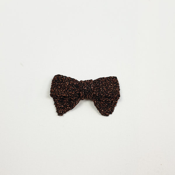 LUCIA 'Metallic' Hair Bow - Large/ Burnt Toffee
