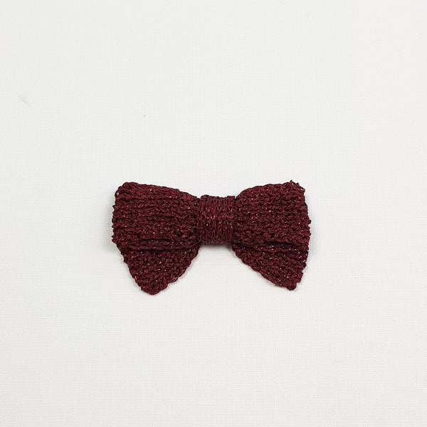 LUCIA 'Metallic' Hair Bow - Large/ Burgundy