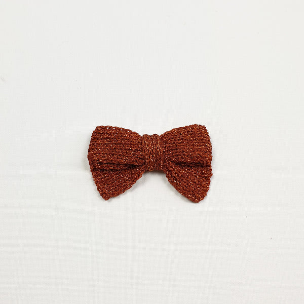 LUCIA 'Metallic' Hair Bow - Large/ Toffee