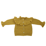 VICTORIA Frilled 'Alpaca' Cardigan - Acid Yellow