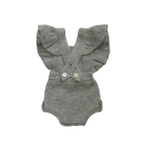 MARGOT Frilled 'Alpaca' Romper - Silver