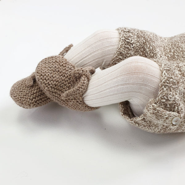 GET KNOTTED 'Alpaca' Baby Booties - Latte