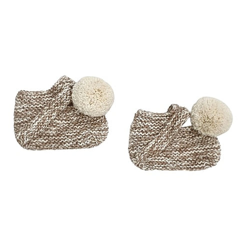 ARLO 'Alpaca' Baby Booties - Latte & Cloud Pom