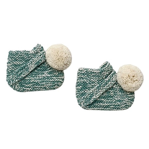 ARLO 'Alpaca' Baby Booties - Emerald & Cloud Pom