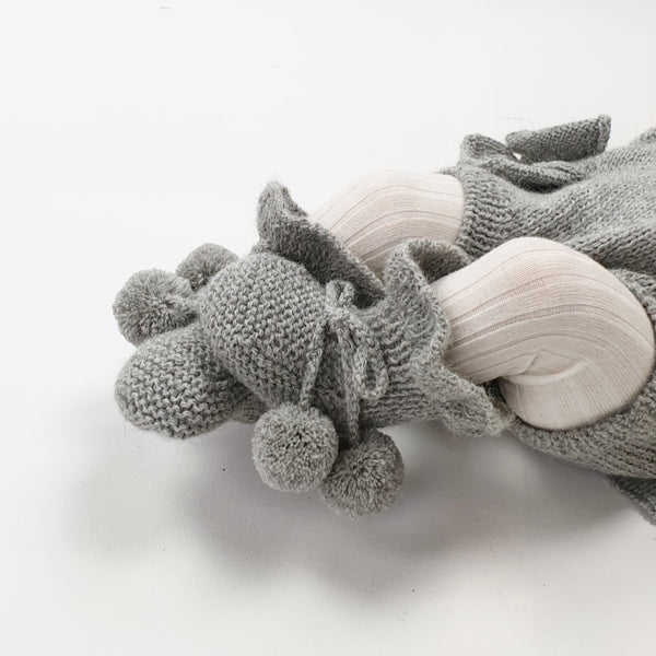 MIMI Frilled 'Alpaca' Baby Booties - Silver