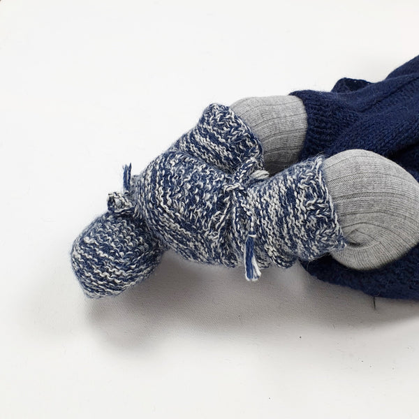 PEARL 'Alpaca' Baby Booties - Indigo & Cloud