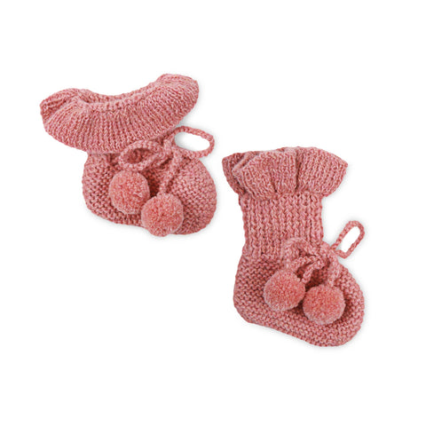 MIMI Frilled 'Alpaca' Baby Booties - Salmon Pink