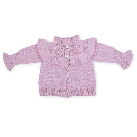 VICTORIA Frilled 'Alpaca' Cardigan - Candy Pink