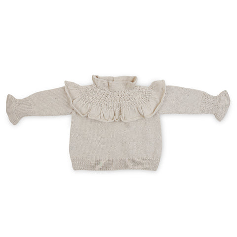 GWENDOLYN Frilled 'Alpaca' Jumper - Cloud