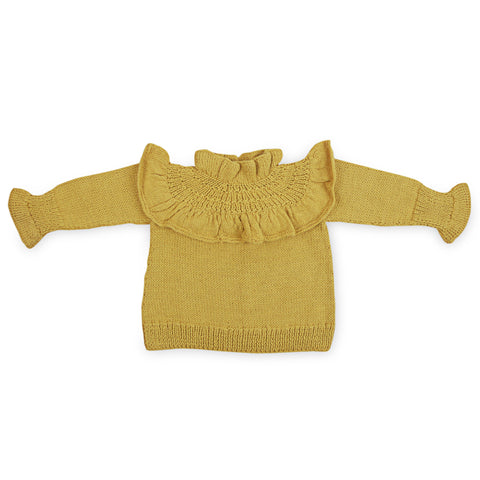 GWENDOLYN Frilled 'Alpaca' Jumper - Acid Yellow