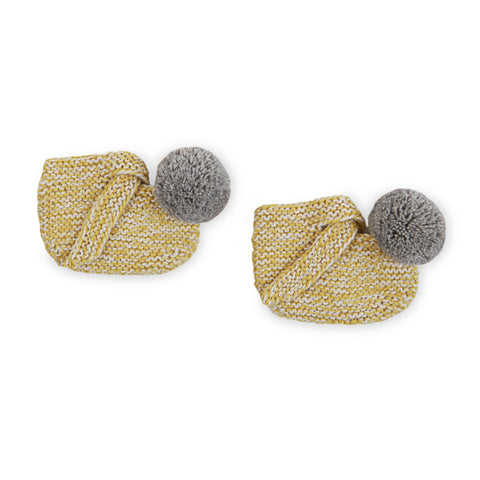 ARLO 'Alpaca' Baby Booties - Acid Yellow & Silver Pom