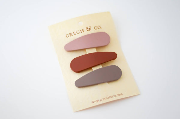 GRECH & CO Matte Clip Set of 3 - Stone, Shell, Rust