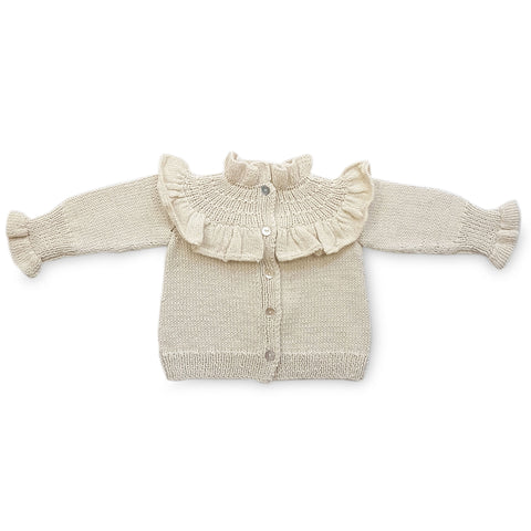 VICTORIA Frilled 'Alpaca' Cardigan - Cloud