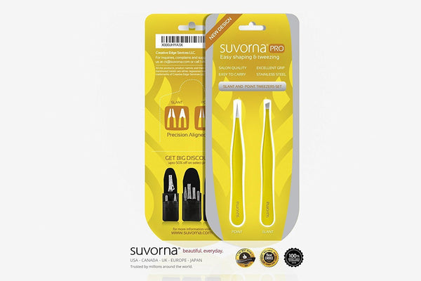 Suvorna Pointed and Slanted Tip Tweezers Set (2 for 1)