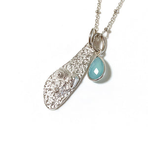 Little Upolu Shells Silver Pendant and chalcedony charm