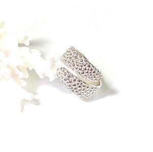 Adjustable Manta Ray Textured Silver Ring