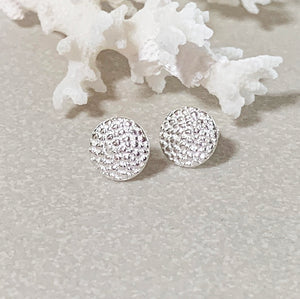 Manta Ray Silver Stud Earrings with coral