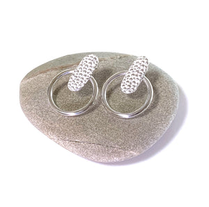 Manta Ray Marine inspired Earrings on pebble