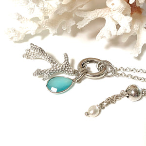 Adjustable Silver Chain with Interchangeable Charm Holder  with chalcedony charm