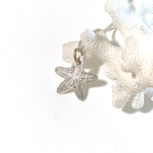 Sea Star Ocean inspired pure silver charm with coral