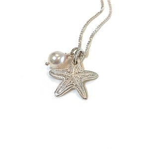 Sea Star Ocean inspired pure silver charm with pearl