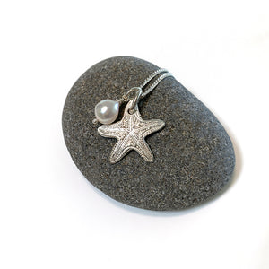 Sea Star Ocean inspired pure silver charm on pebble