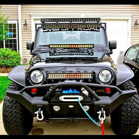 Black Jeep with Tube Bumper