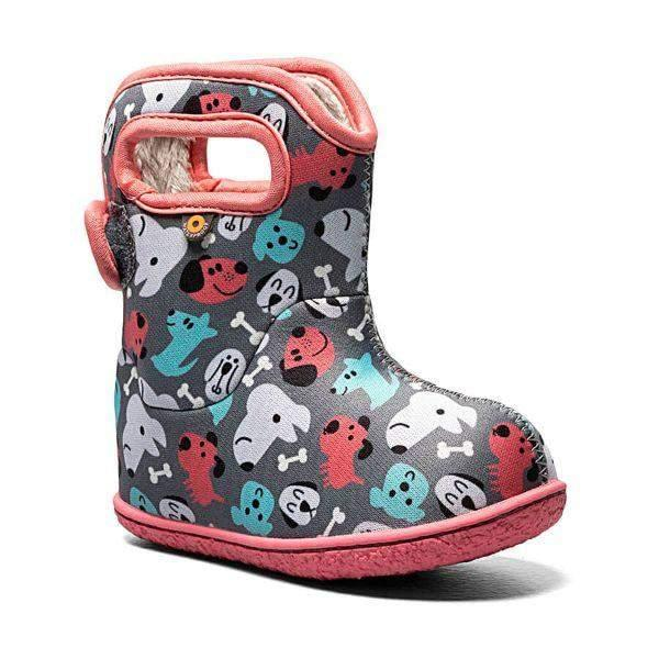 Baby Bogs Gray Pink / Puppies / Waterproof / -10 Warm - ShoeKid.ca