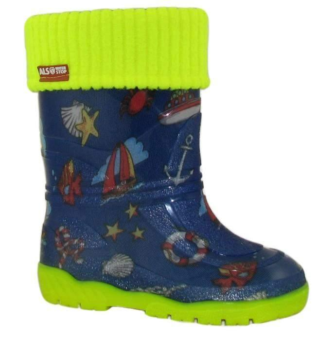 Alisa Kids Rainboot Blue Ship with Removable Insulation -5C - ShoeKid.ca