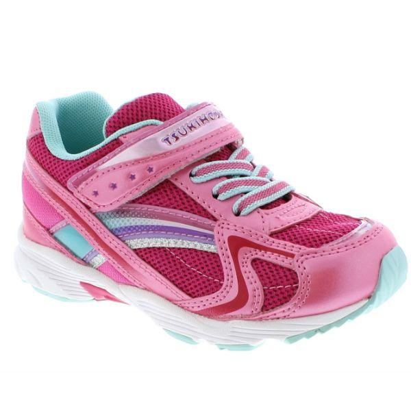 Girls Running Shoes - Tsukihoshi GLITZ Girls Running Shoes /Toddler/Little Kid / Hot Pink / Mint