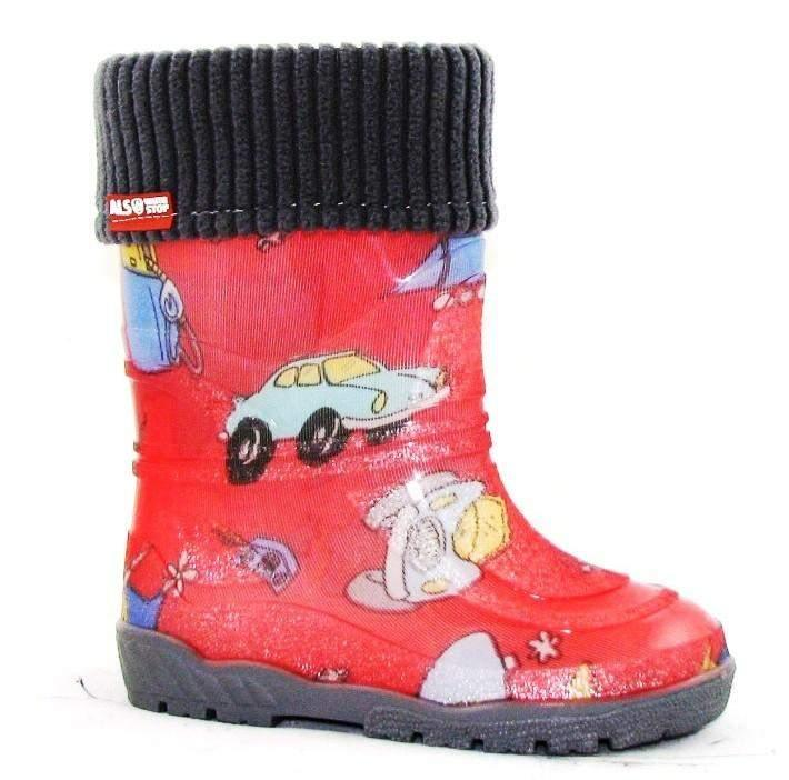 Alisa Kids Rainboot Red Cars with Removable Insulation -5C - ShoeKid.ca