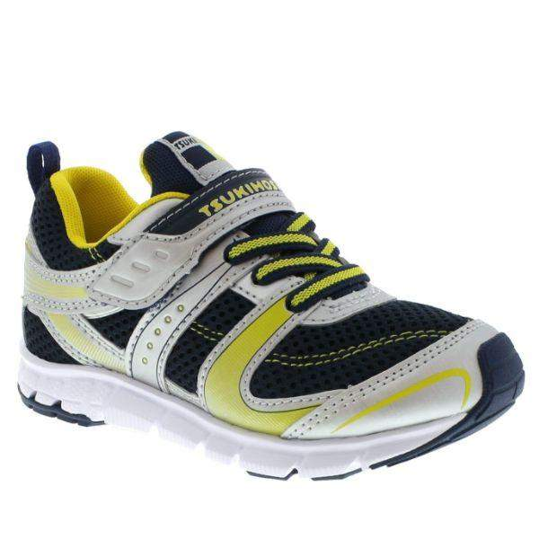 Tsukihoshi Velocity Silver Navy Boys Running Shoes (Machine Washable) - ShoeKid.ca
