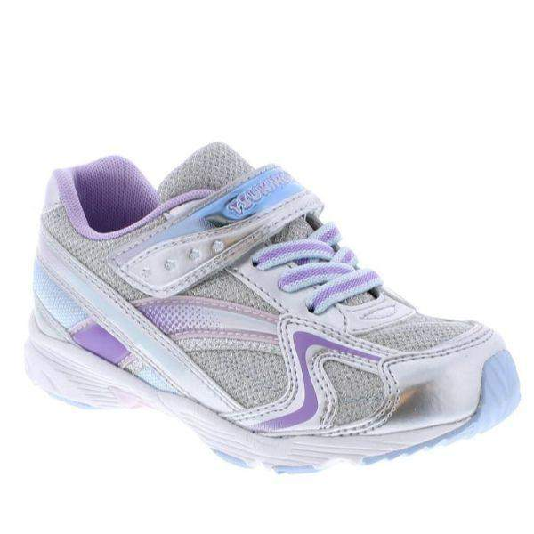 Tsukihoshi Glitz Silver Lavender Girls Running Shoes (Machine Washable) - ShoeKid.ca