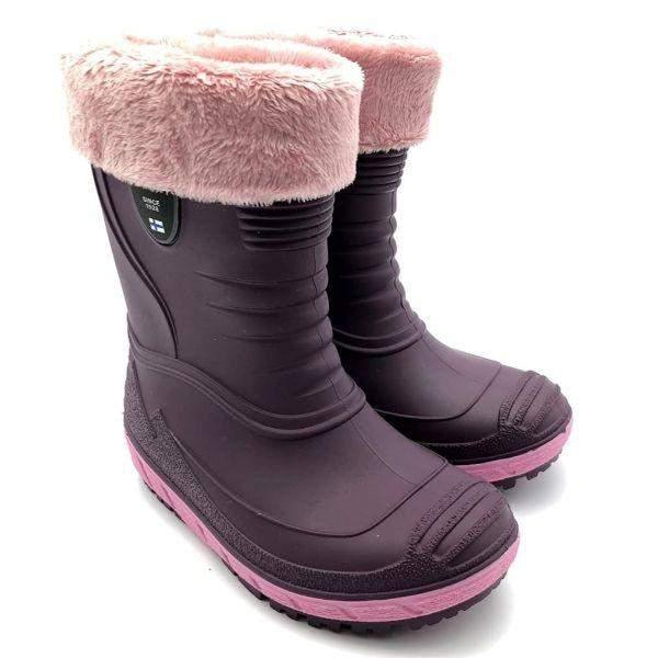KUOMA TIHKU Removable Fur Lined Girls Rain Boots (Made in Italy)