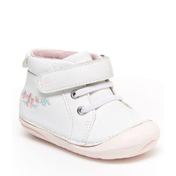 Stride Rite SM Frankie White Pink Leather Sneaker - ShoeKid Canada